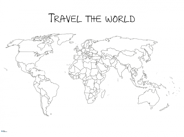 Weltkarte Travel the world zum Ausmalen